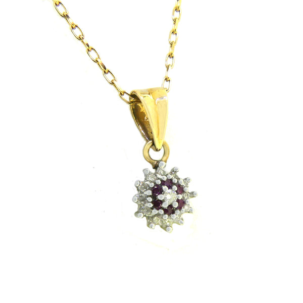 9ct Yellow & White Gold Ruby & Diamond Cluster Pendant PGR2 Side