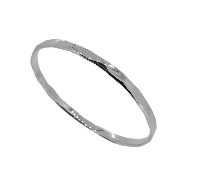 Sterling Silver 4mm Faceted Bangle
