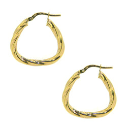 9ct Yellow Gold 22mm Triangular Twist Creole Earrings
