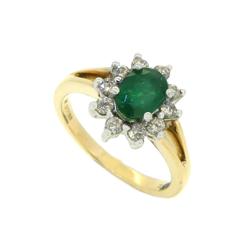Emerald & Diamond Oval Cluster Ring 9ct Yellow Gold