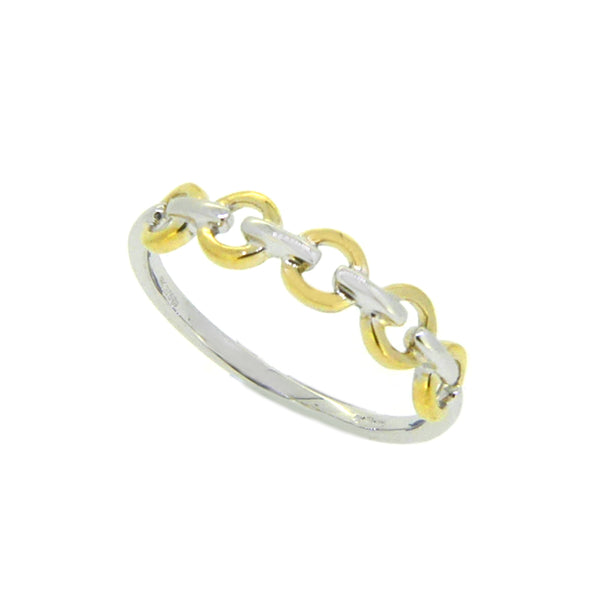 9ct White & Yellow Gold Chain Stacker Ring by Amore