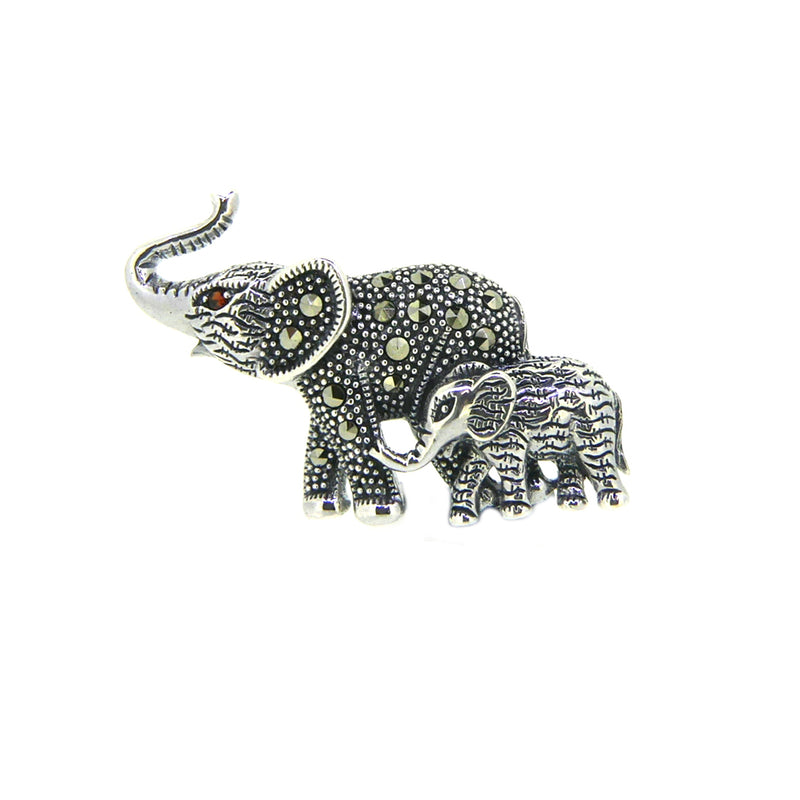 Silver Marcasite Mother & Baby Elephant Brooch PDBR078SIL