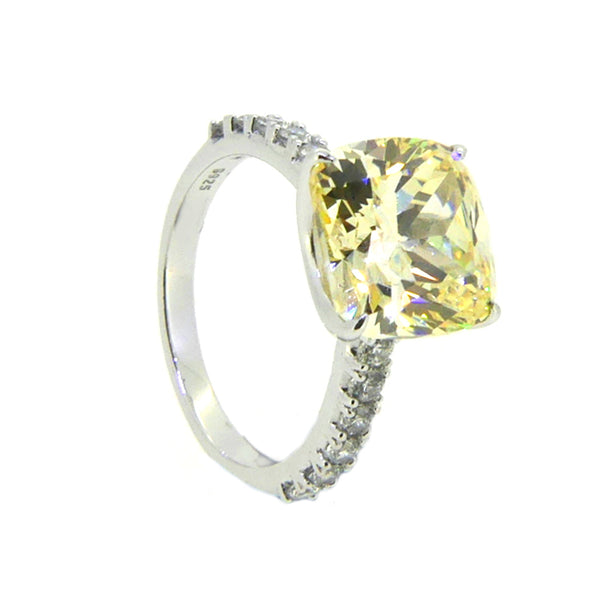 Silver Yellow & White CZ Ring side