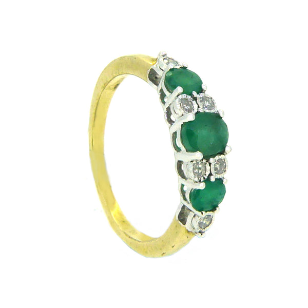 Emerald & Diamond 9 Stone Eternity Ring 9ct Yellow Gold side