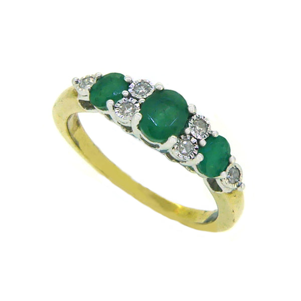 Emerald & Diamond 9 Stone Eternity Ring 9ct Yellow Gold