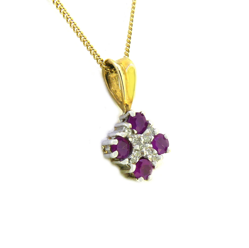 P260DR SIDE9ct Gold Ruby & Diamond Square Pendant