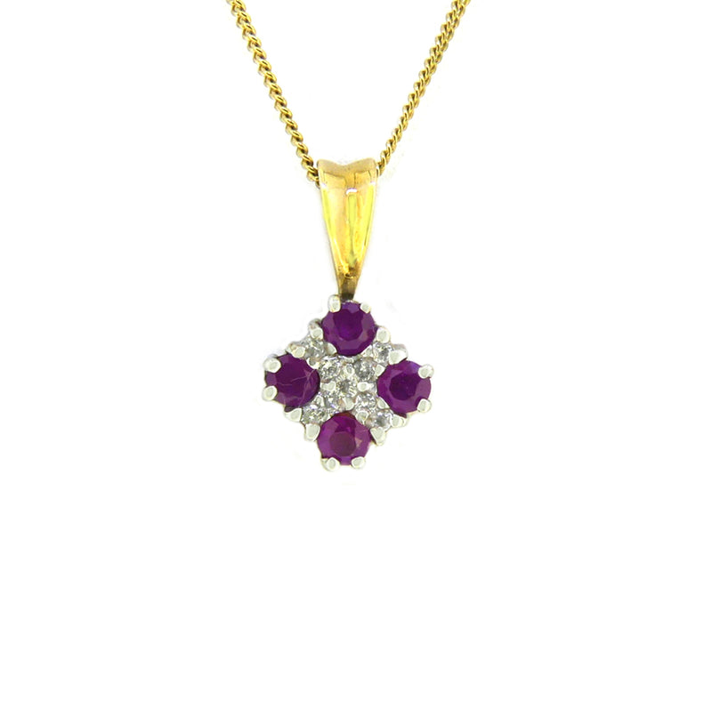 9ct Gold Ruby & Diamond Square Pendant P260DR