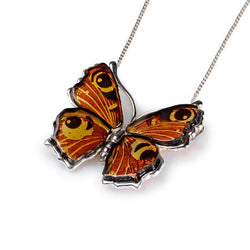 Henryka Small Peacock Butterfly Necklace in Silver and Amber