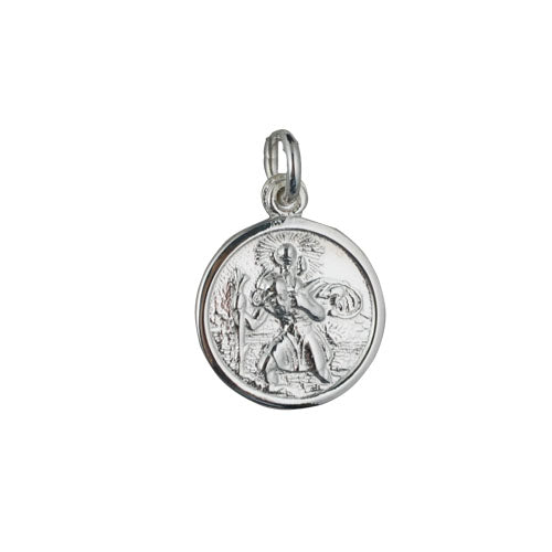 Sterling Silver Round 16mm St. Christopher