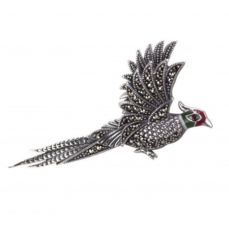 Pheasant Brooch Silver & Marcasite PDBR064SIL