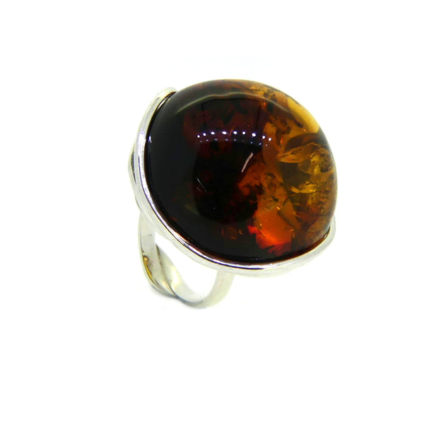 Sterling Silver Large Amber Ring PGR03AMB