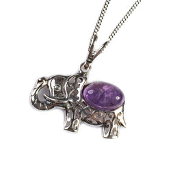 "Henryka Indian Elephant Necklace in Silver and Amethyst - 18""/45.5cm"