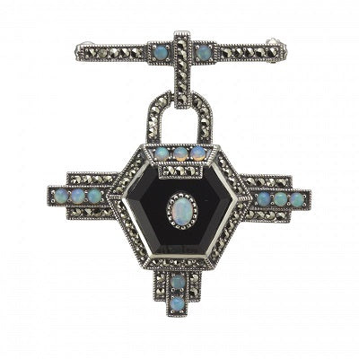 Antique Style Silver & Onyx Bar Brooch