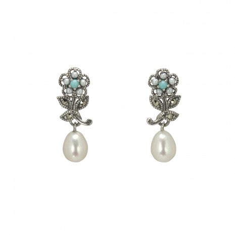 Silver Marcasite Turquoise & Pearl Flower Drop Earrings - PME018TQ