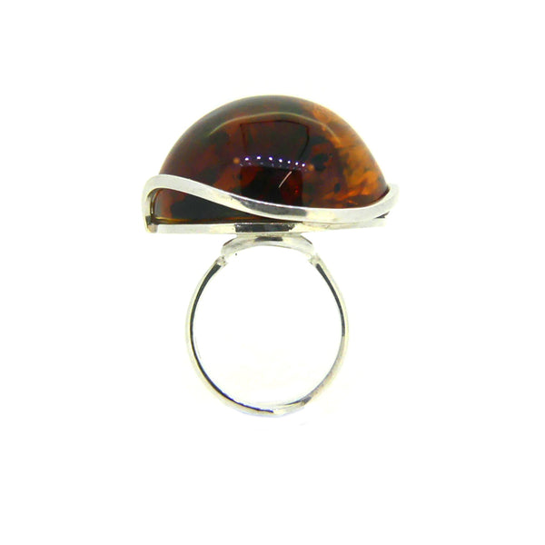 Sterling Silver Large Amber Ring PGR03AMB-2