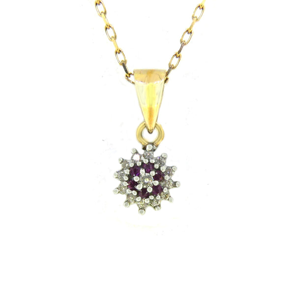 9ct Yellow & White Gold Ruby & Diamond Cluster Pendant PGR2