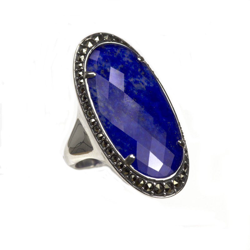 Silver Marcasite Lapis Lazuli & Rock Crystal Ring