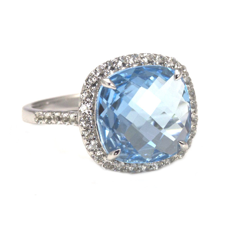 Silver Blue & White Topaz Cushion Ring PTR030TPZ