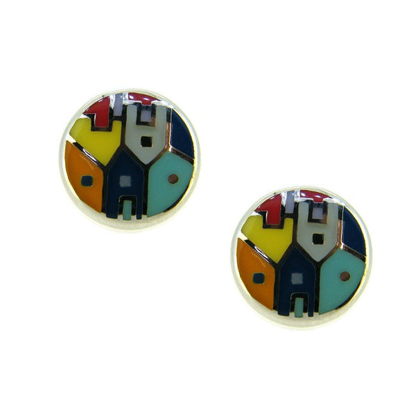 Silver Enamel Hoop Earrings PUE012E