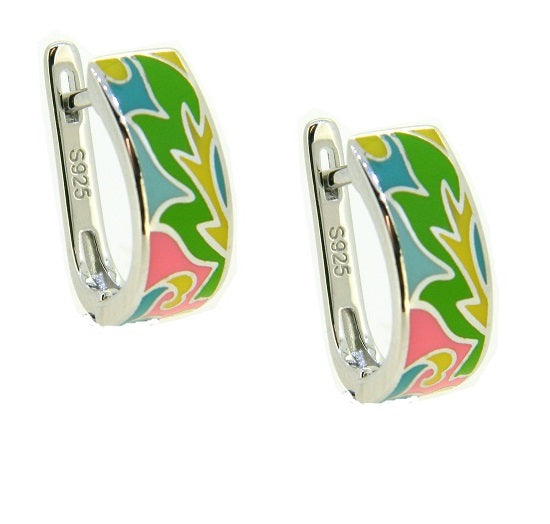 Silver Enamel Hoop Earrings PUE015E