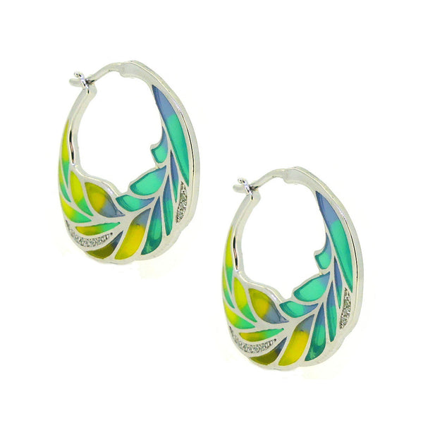 Silver Enamel Hoop Earrings PUE021CZ