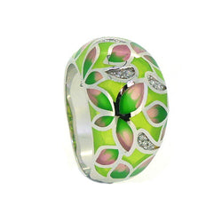 Silver green and pink Enamel Ring PUR007CZ