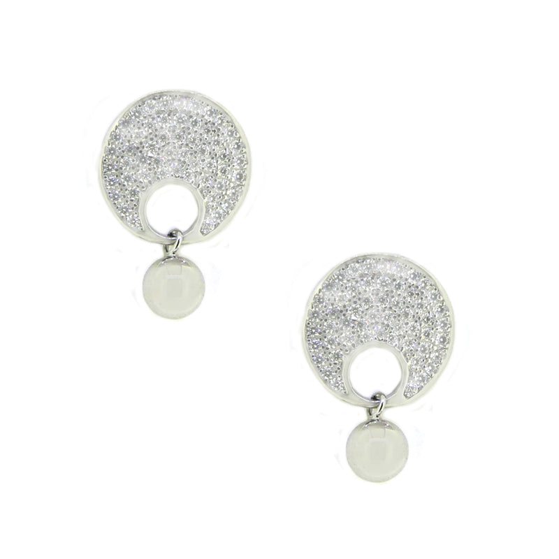 Silver Pave CZ & Bead Drop Earring