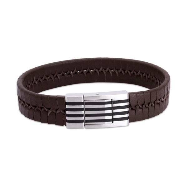 Unique & Co Mens Wide Leather Bracelet QB-77DB