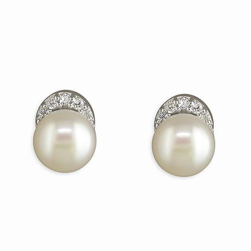 Silver CZ Topped 7mm Fresh Water Cultured Pearl Earring