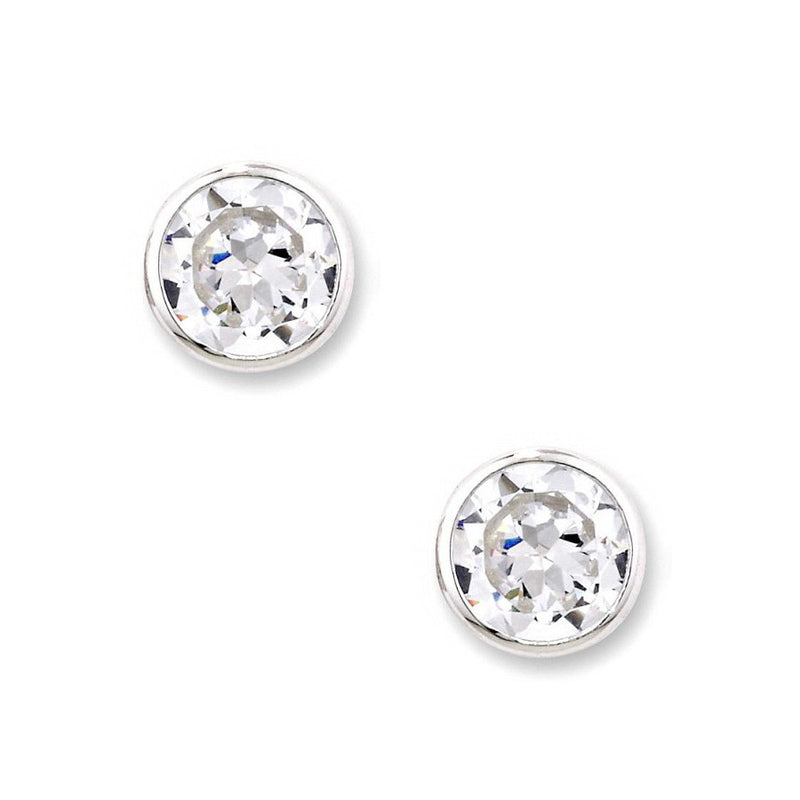 Sterling Silver 6mm Rub Over Set Solitaire CZ Earrings