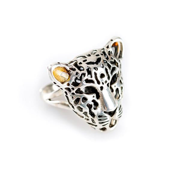 Henryka Leopard Head Ring in Silver and Amber