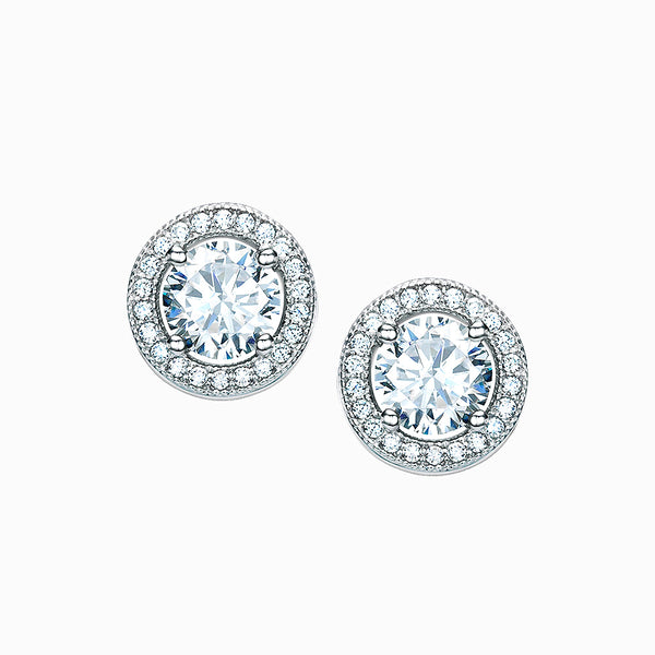 The Real Effect Halo CZ Stud Earrings RE15724