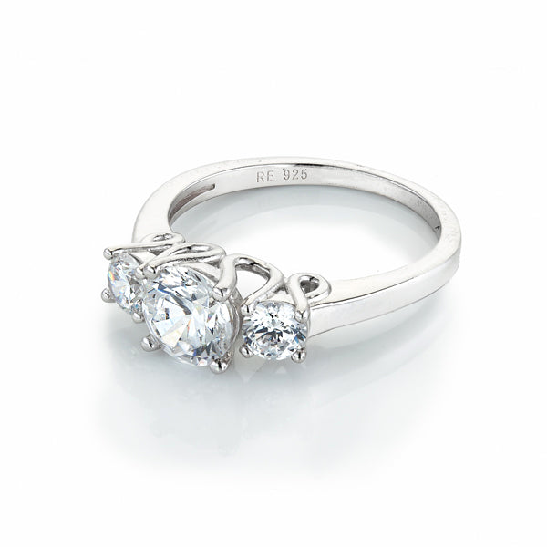 The Real Effect Three Stone CZ Ring
