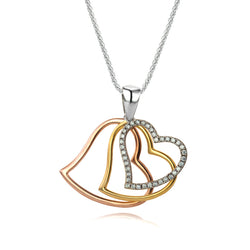 The Real Effect 3 Colour Triple Heart Necklace