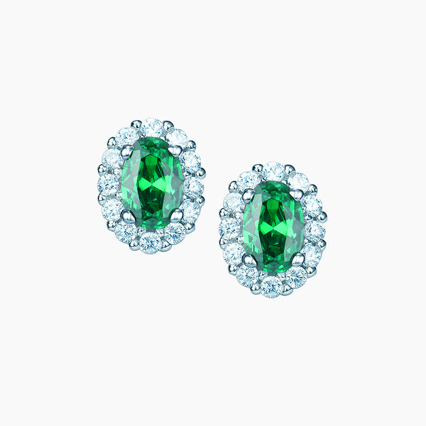 The Real Effect Emerald Green CZ Earrings