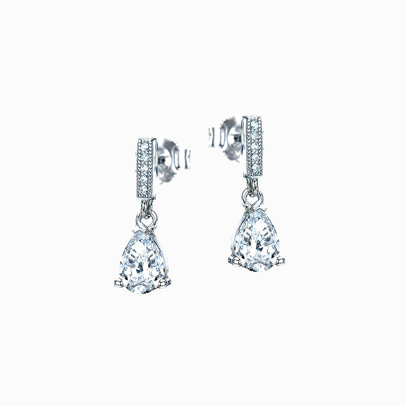 The Real Effect Pear Shaped CZ Drop Earrings