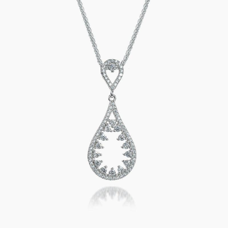The Real Effect Tear Drop Silver & CZ Necklace