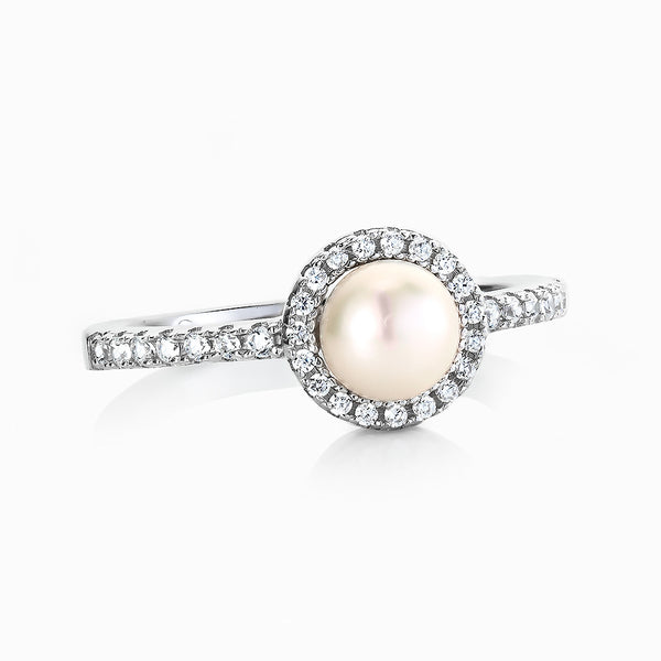 Real Effect Silver Deco Pearl Ring RE39834