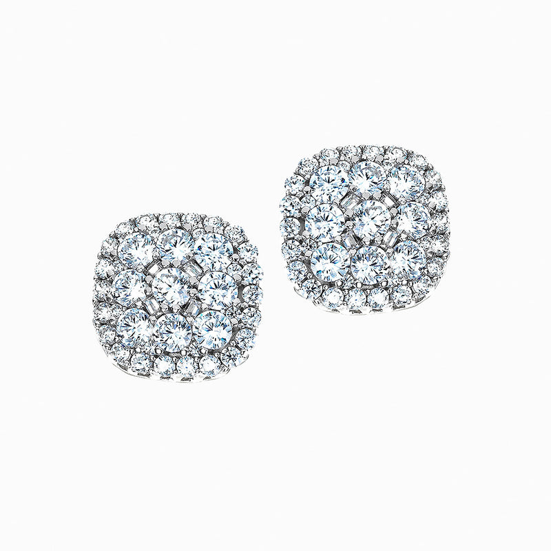 The Real Effect Layered Cushion Cluster Stud Earrings RE40004
