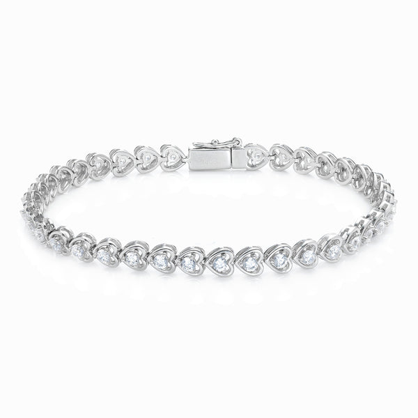 The Real Effect Silver CZ Heart Bracelet RE41964