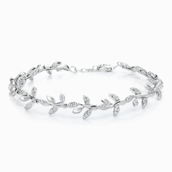 The Real Effect Silver Floral CZ Bracelet RE42014