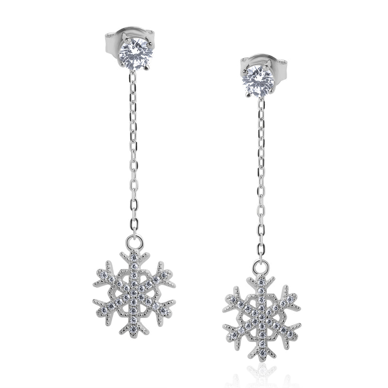 The Real Effect Snowflake Drop Earrings RE43164