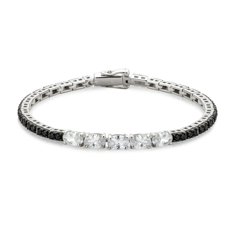 The Real Effect Silver Black CZ Bracelet RE43824