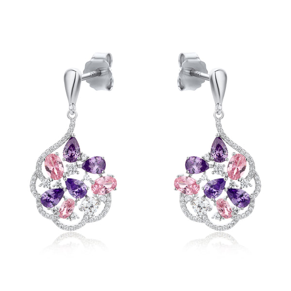 The Real Effect Amethyst & Pink CZ Drop Earrings RE43844