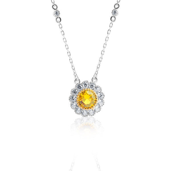 The Real Effect Yellow CZ Necklace RE44754