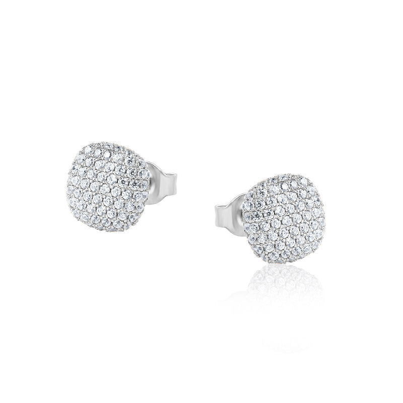The Real Effect Cushion Shaped Pave Set Stud Earrings RE47274