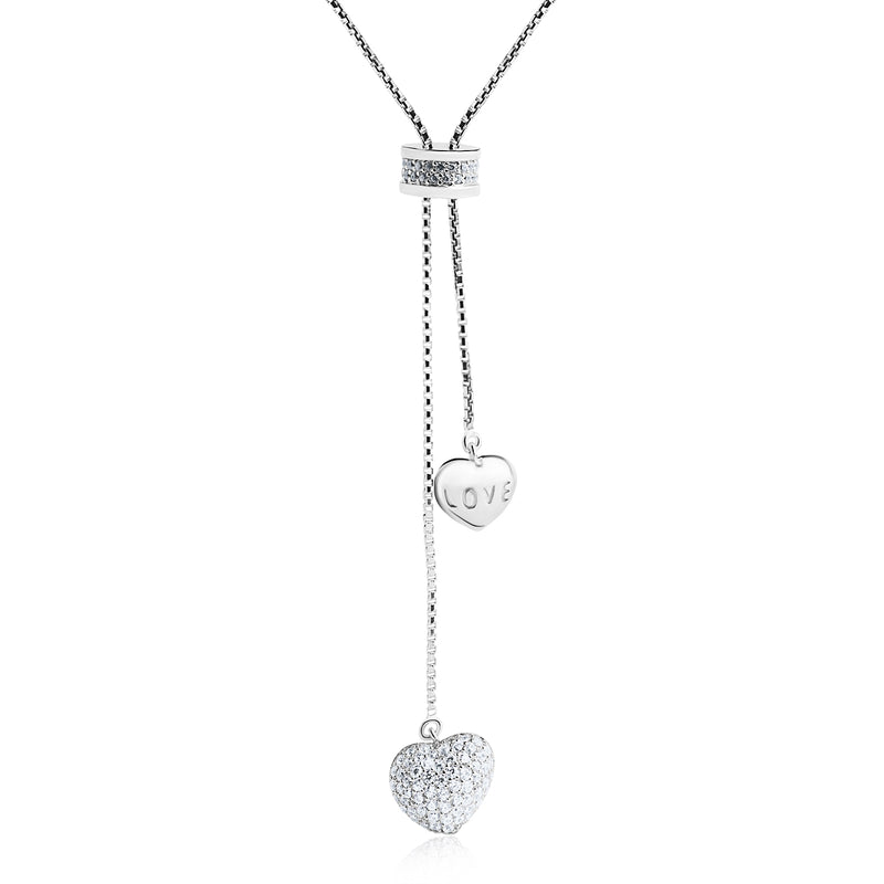 The Real Effect Double Heart Adjustable Necklace RE48054