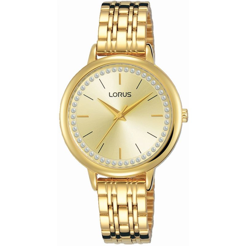 Lorus Ladies Gold Tone Bracelet Stone Set Dial Watch RG202QX9
