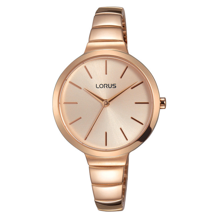 Lorus Ladies Rose Gold Tone Bracelet Watch RG214LX9