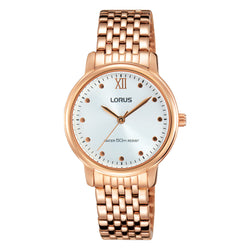 Lorus Ladies Rose Gold Tone Bracelet Watch RG220LX9